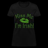 Women's T-Shirts ~ Women's T-Shirt ~ Green Glitter Kiss Me I'm Irish Women's Tshirt