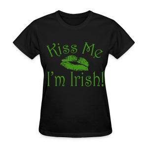 Green Glitter Kiss Me I'm Irish Women's Tshirt - Women's T-Shirt