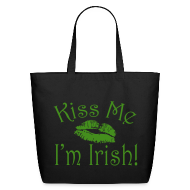 Bags & backpacks ~ Eco-Friendly Cotton Tote ~ Kiss Me I'm Irish Glitter Tote Bag