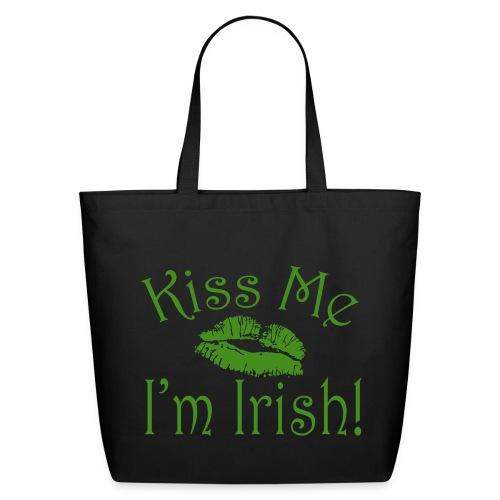 Kiss Me I'm Irish Glitter Tote Bag - Eco-Friendly Cotton Tote