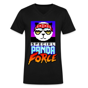 Funky Panda - Special Panda Force (V-Neck) - Men's V-Neck T-Shirt by Canvas