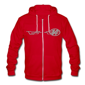 Grand Delusion Jacket (Red) - Unisex Fleece Zip Hoodie by American Apparel