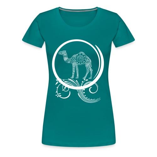 Women's Camel Mandala Swirl Tee - Women's Premium T-Shirt