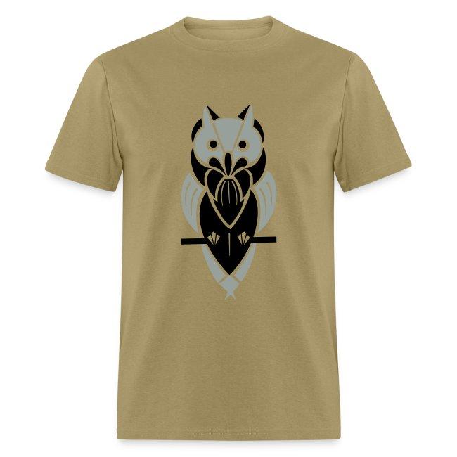 Graphic Owl (Silver/Black) Men's Standard Weight T-Shirt