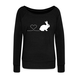 'Pooping Heart Rabbit' Ladies Sweatshirt - Women's Wideneck Sweatshirt