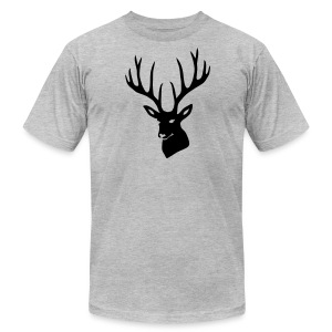 animal t-shirt stag antler cervine deer buck night hunter bachelor - Men's T-Shirt by American Apparel