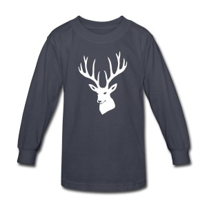 animal t-shirt stag antler cervine deer buck night hunter bachelor - Kids' Long Sleeve T-Shirt