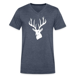 animal t-shirt stag antler cervine deer buck night hunter bachelor - Men's V-Neck T-Shirt by Canvas