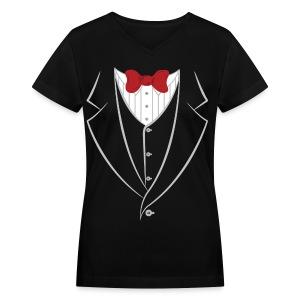 Tuxedo V-Neck - Women's V-Neck T-Shirt