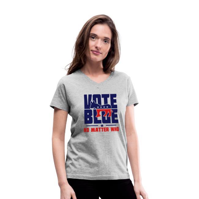 Vote Blue No Matter Who Womens V-neck Heather T-shirt