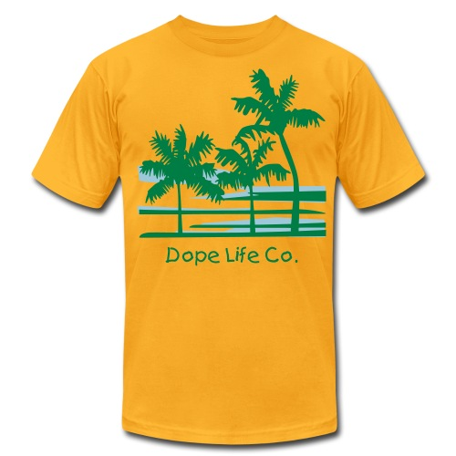 Palm Trees Surfer Caribbean Hawaii - Men's T-Shirt by American Apparel