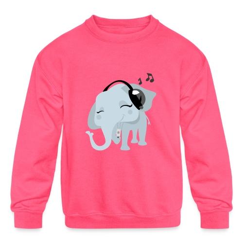 Headphones Elephant Kids Sweatshirt - Kids' Crewneck Sweatshirt