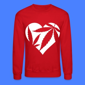 Marijuana Heart Long Sleeve Shirts - Crewneck Sweatshirt