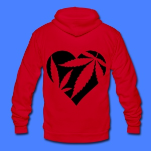 Marijuana Heart Zip Hoodies/Jackets - Unisex Fleece Zip Hoodie by American Apparel