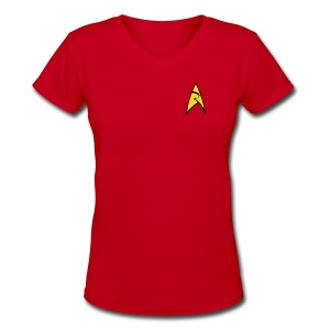 Mission Log Red Shirt (Women's) - Women's V-Neck T-Shirt