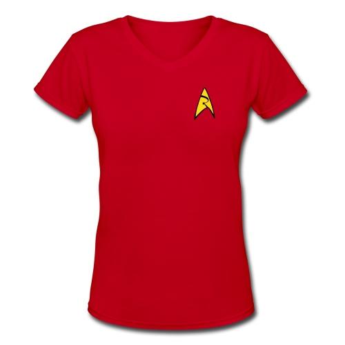 Mission Log Red Shirt (Women's) - Women's V-Neck T-Shirt
