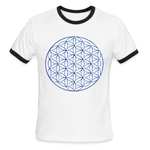 Blue Flower of Life - Sacred Geometry Symbol - Men's Ringer T-Shirt