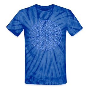 Blue Flower of Life - Sacred Geometry Symbol - Unisex Tie Dye T-Shirt