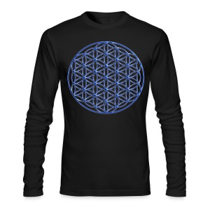 Blue Flower of Life - Sacred Geometry Symbol - Men's Long Sleeve T-Shirt by Next Level