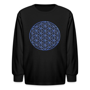 Blue Flower of Life - Sacred Geometry Symbol - Kids' Long Sleeve T-Shirt