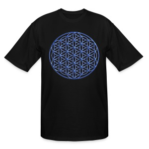 Blue Flower of Life - Sacred Geometry Symbol - Men's Tall T-Shirt
