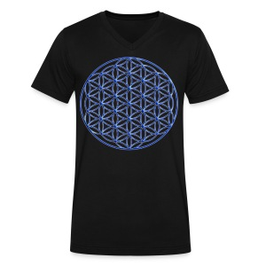 Blue Flower of Life - Sacred Geometry Symbol - Men's V-Neck T-Shirt by Canvas