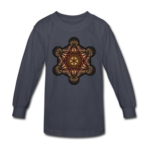 Metatron's Cube - Sacred Geometry Symbol - Kids' Long Sleeve T-Shirt