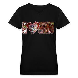 womens i love zombies horizontal - Women's V-Neck T-Shirt