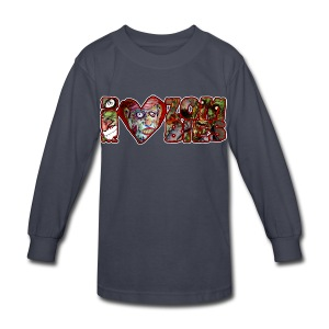 kidss i love zombies horizontal - Kids' Long Sleeve T-Shirt