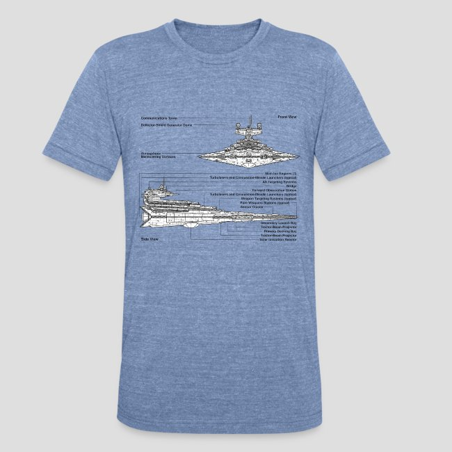 Really Sweet Shirts Star Destroyer Diagram Unisex Tri Blend T Shirt