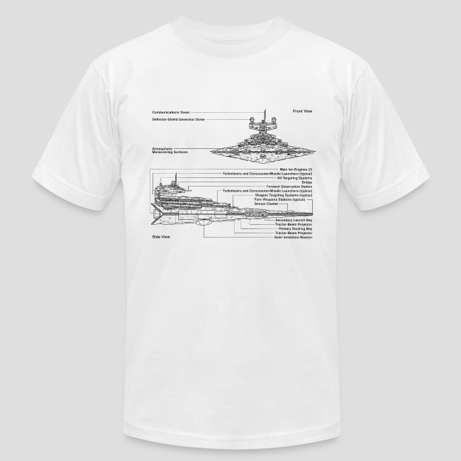Really Sweet Shirts Star Destroyer Diagram Mens Fine Jersey T Shirt