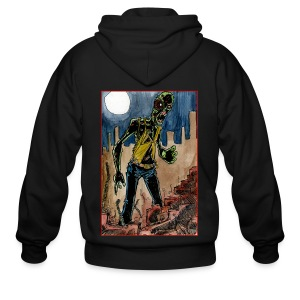 mens - zombie in ruins - Men's Zip Hoodie