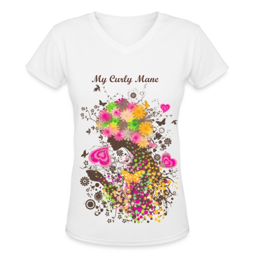 Curly Love Shirt - Women's V-Neck T-Shirt