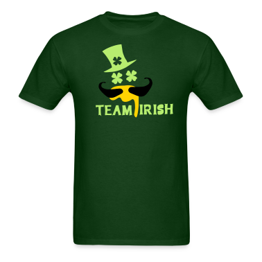 TEAM IRISH  mustache man in green hat st.patty's d