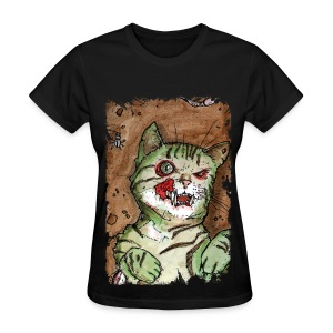 womens green zombie cat - Women's T-Shirt