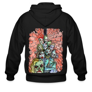 mens back alley zombie horde - Men's Zip Hoodie