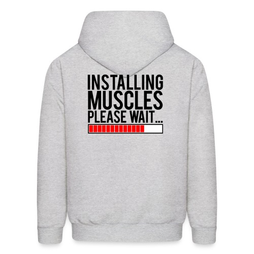 Installing muscles please wait | Mens hoodie (back print) - Men's Hoodie