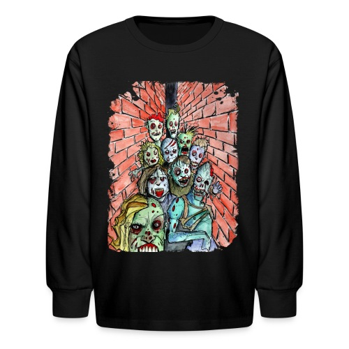 kids back alley zombie horde - Kids' Long Sleeve T-Shirt