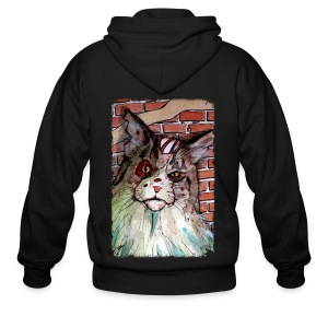 mens zombie devil cat - Men's Zip Hoodie