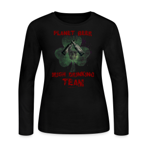 Planet Beer Irish Drinking Team Women's Long Sleeve T-Shirt (Double Sided) - Women's Long Sleeve Jersey T-Shirt
