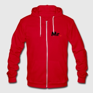 Mr with heart dot - part of Mr and Mrs set Zip Hoodies/Jackets - Unisex Fleece Zip Hoodie by American Apparel