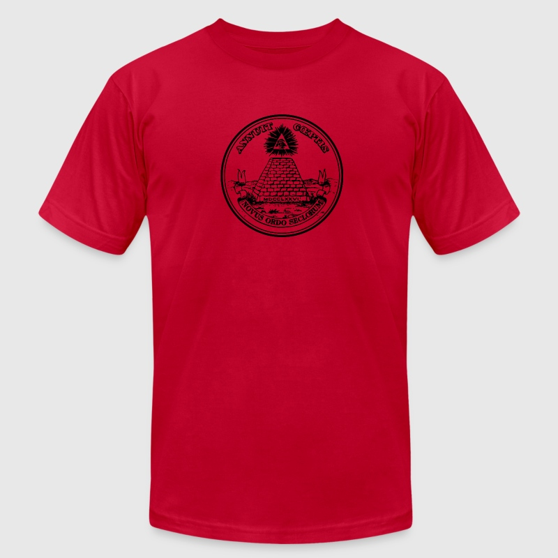 All seeing eye, pyramid, dollar, freemason, god T-Shirts - Men's T-Shirt by American Apparel