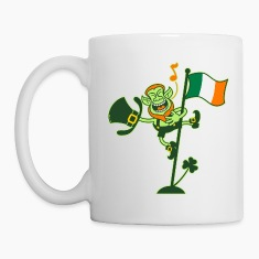 Leprechaun Singing on an Irish Flag Pole Bottles &