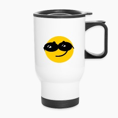 Flirty Cool Smiley face with sunglasses Bottles & Mugs
