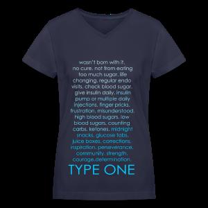 Type One Ombre Design - Blue - Women's V-Neck T-Shirt