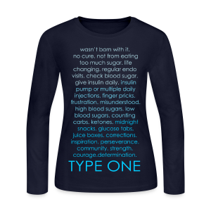Type One Ombre Design - Blue - Women's Long Sleeve Jersey T-Shirt