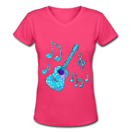T-Shirts ~ Women's V-Neck T-Shirt ~ stars and guitar