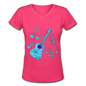 stars and guitar - Women's V-Neck T-Shirt
