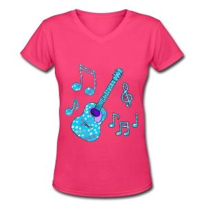 stars and guitar - Women's V-Neck T-Shirt