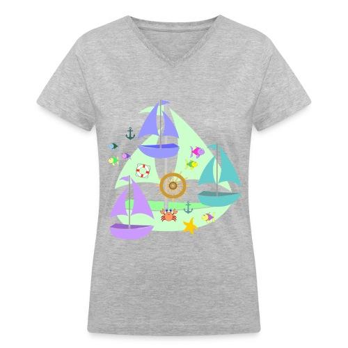 sailboats - Women's V-Neck T-Shirt